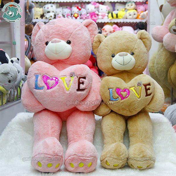 Gấu Bông Teddy Ôm Tim Love Màu có nhiều màu sắc lắm đó nha.