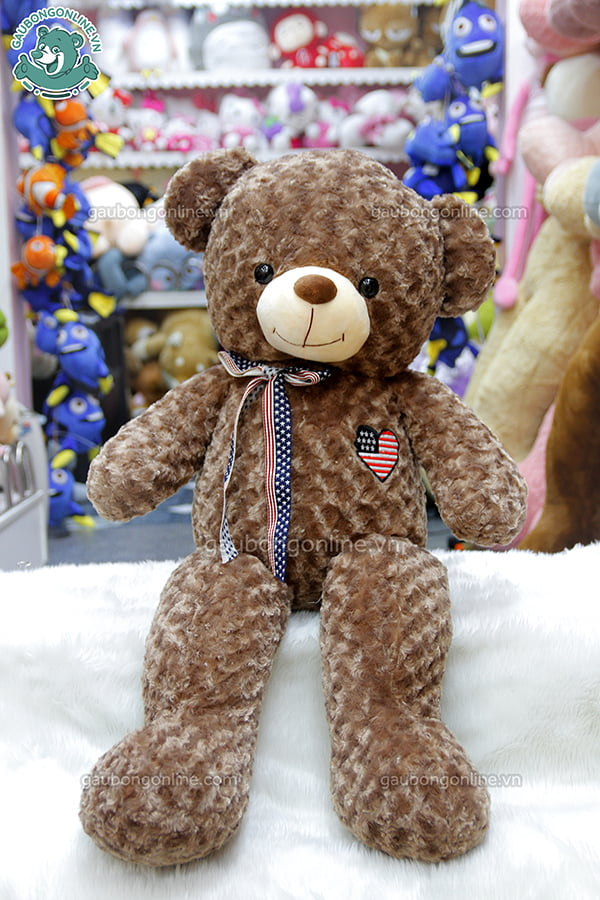 Gấu Bông Teddy Tim Cờ Mỹ