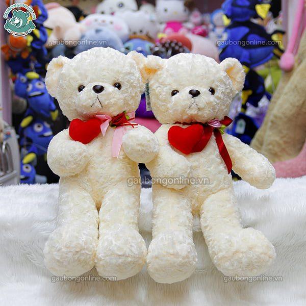 Gấu Bông Teddy Tim Lệch Đỏ