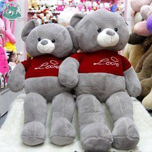 Gấu Bông Teddy Áo Xám Love