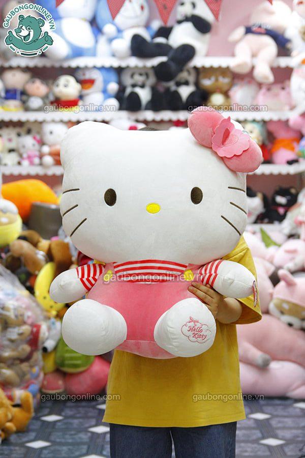 Gấu Bông Hello Kitty Áo Kẻ