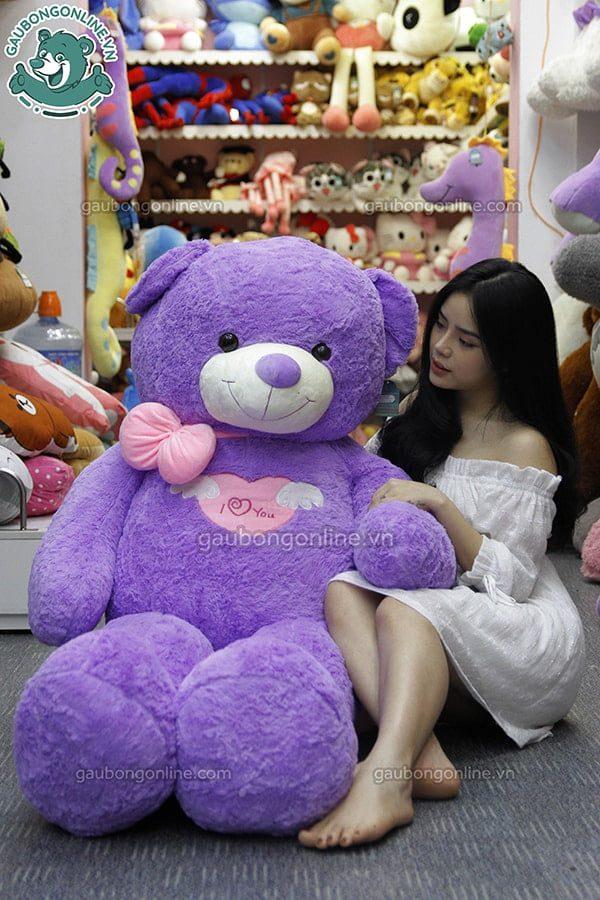 Gấu bông Teddy Angle tím