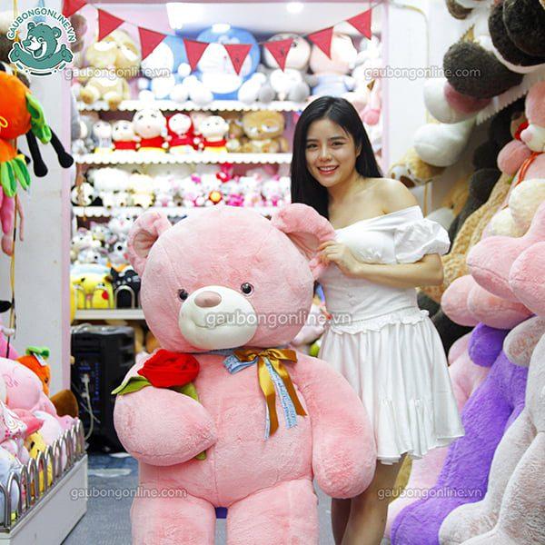 Gấu Bông Teddy Nơ Ôm Hoa Hồng 1m6
