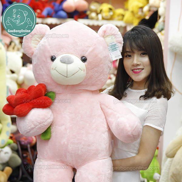 Gấu Bông Teddy Ôm Hoa Hồng