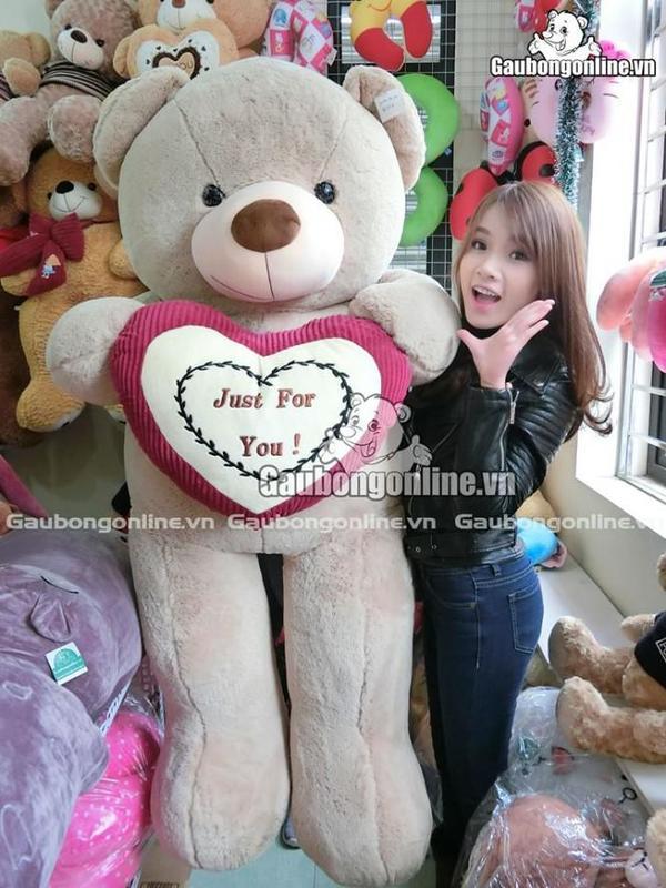 gấu teddy ôm tim bự