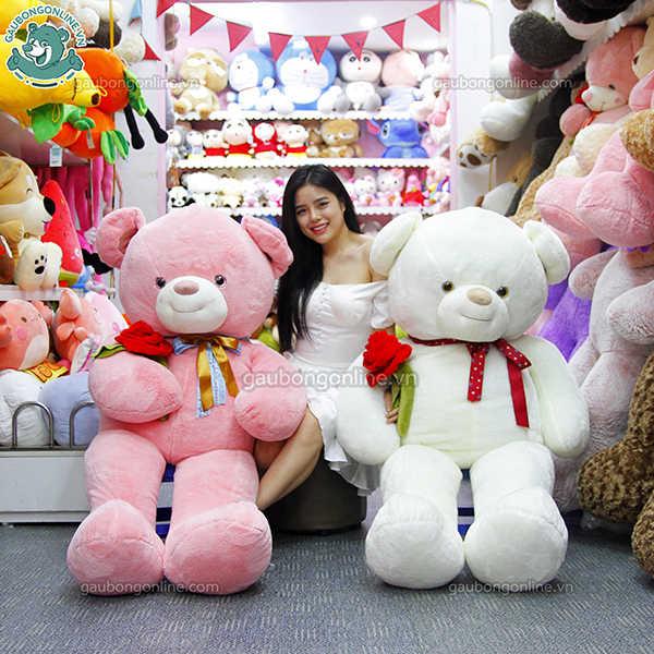 gấu teddy nơ ôm hoa hồng