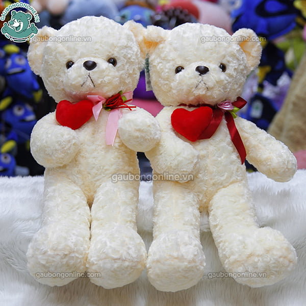 Gấu Teddy nhỏ ôm tim lệch
