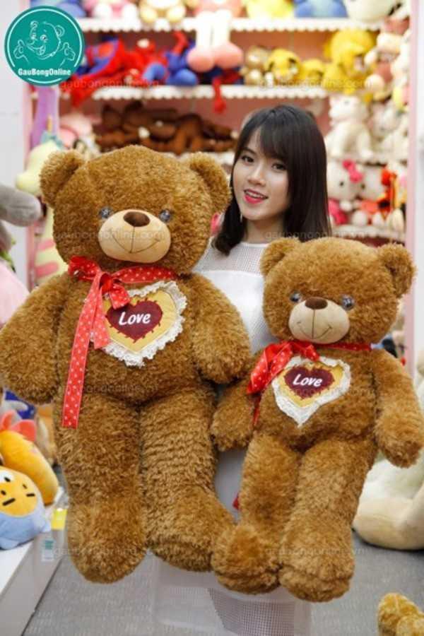 gấu teddy tim ngực