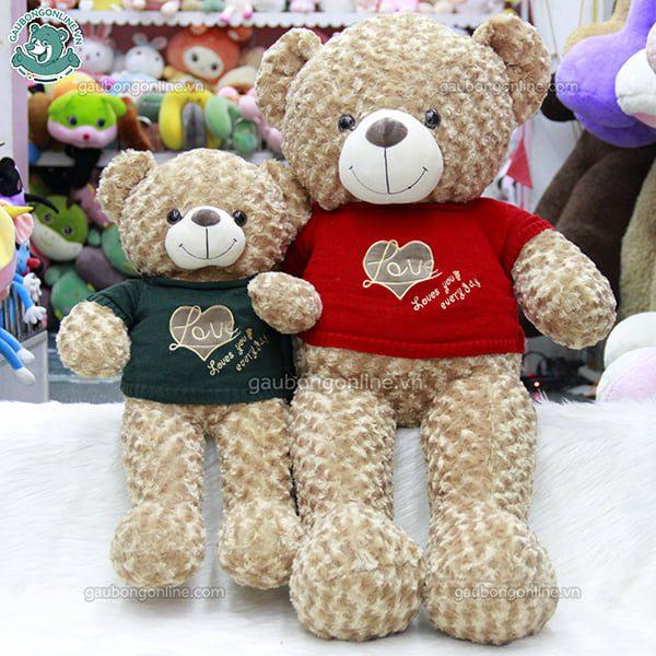 Gấu Bông Teddy Áo Len Tim Love