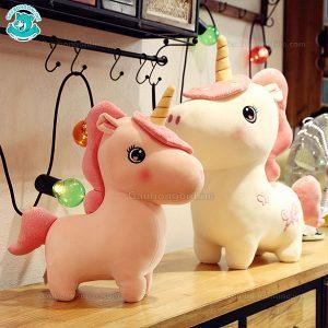 Unicorn Bông Ngồi Thêu Hoa