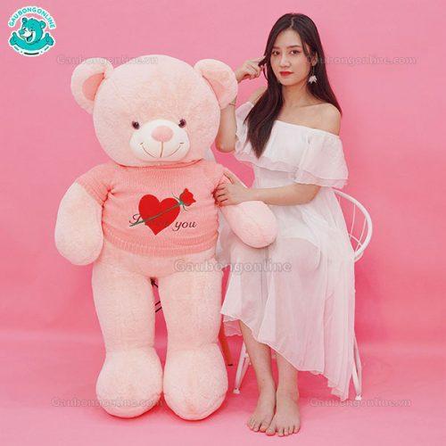 Gấu Bông Teddy Áo Tim Hoa ILU